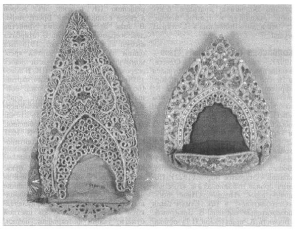Кокошники, шитые жемчугом.  Фото 1890-х гг.